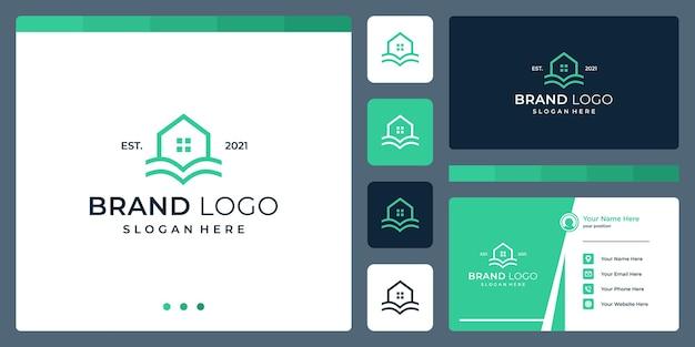 Логотип, сочетающий формы дома и книги. визитные карточки.