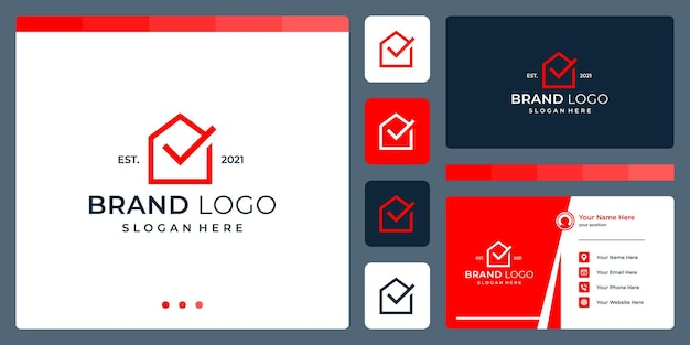 Logo that combines house shapes and check mark. business cards.