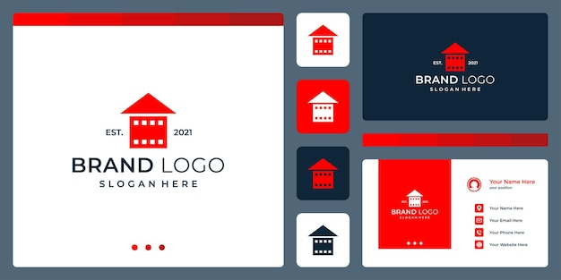 Logo that combines house shapes and film srip. business cards.