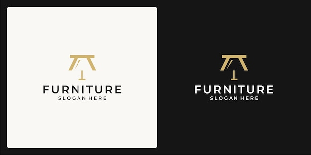 A logo that combines the shape of a bench and a lamp. icon for furniture business, interior.