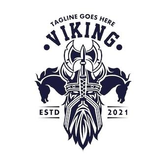 Логотип the men vikings two horse для деловых развлекательных сми и ресторанного кафе