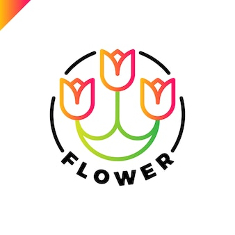Logo of three flowers in the line style in circle. tulip spa icon. cosmetics hotel garden beauty salon logotype concept.