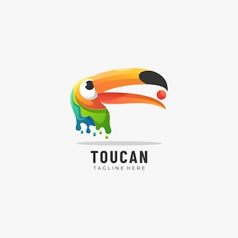 Logo  toucan gradient colorful style.