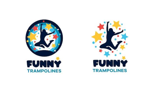 Logo for the trampoline center. fun round multicolored sign.