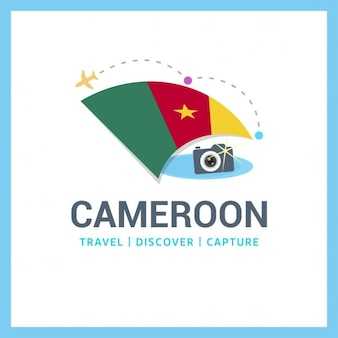 Logo travel with flag of cameroon