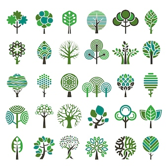 Logo tree. eco nature wood trees stylized emblems or badges vector collection. illustration stylized logo tree, emblem badge tree