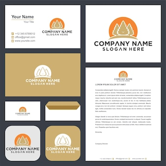 Logo tree with green leaves and business card premium