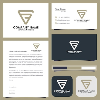 Logo triangel letter fc and business card