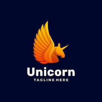 Logo unicorn gradient colorful style.
