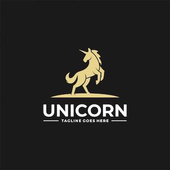 Logo  unicorn jump silhouette