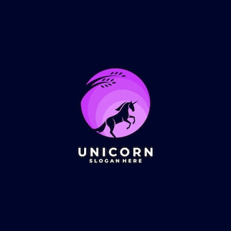 Logo  unicorn night silhouette
