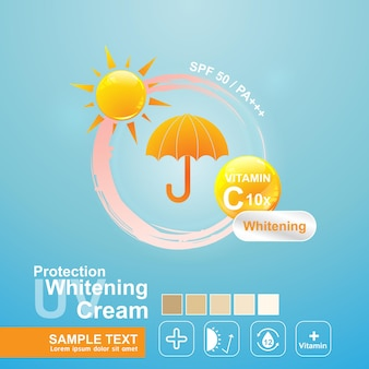 Logo uv protection for poster  skincare products template.