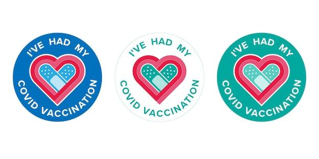 텍스트가 있는 로고 백신 예방 접종을 받은 사람들을 위한 covid 예방 접종을 받았습니다. 코로나바이러스 백신 캠페인 스티커. 의료 및 건강 개념