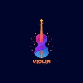 Логотип скрипки градиент красочный стиль.