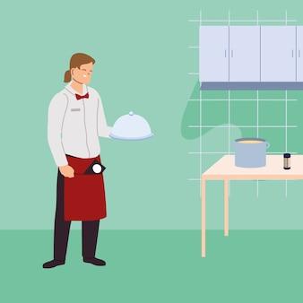 Logo waiter man with uniform illustration design