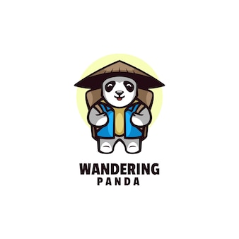 Logo wandering panda mascot cartoon style