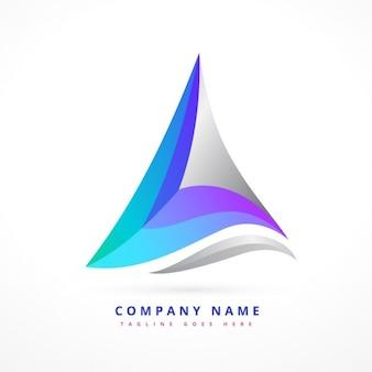 Logo in wavy triangular shape Free Vector