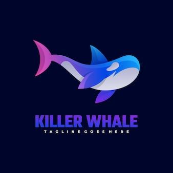 Логотип кит градиент красочный стиль.