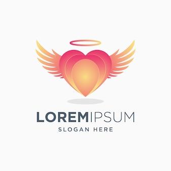 カラフルな愛の天使のロゴ