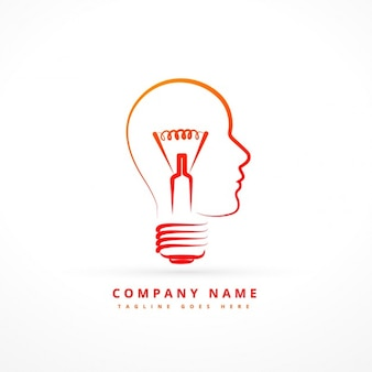 Logo with abstract bulb with face form
