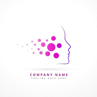 Logo with abstract purple face