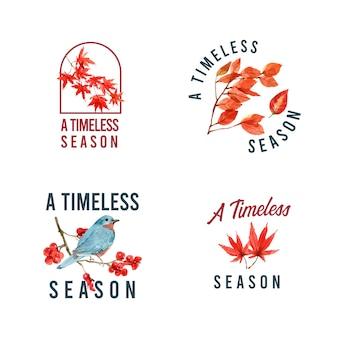 Логотип с осенним лесом и животными