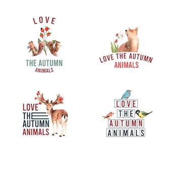秋の森と動物のロゴ