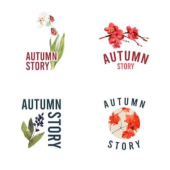 Logo con foresta d'autunno e animali