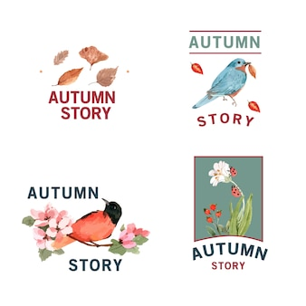 Logo with autumn forest and animals