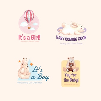 Logo with baby shower design concept for brand and marketing watercolor vector illustration.