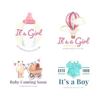 Логотип с концепцией дизайна детского душа для бренда и маркетинговой акварельной векторной иллюстрации.