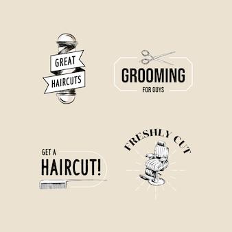 ブランディングのための理髪店のコンセプトデザインのロゴ。