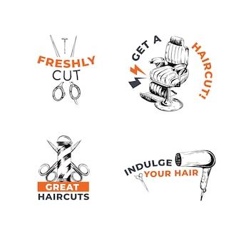 Логотип с концептуальным дизайном парикмахера для брендинга.