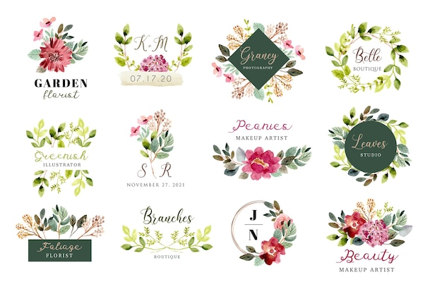 Logo with beautiful floral and foliage watercolor collection