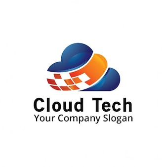 Logo with a blue and orange cloud
