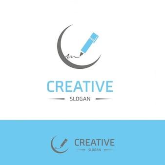 Logo with a blue pen