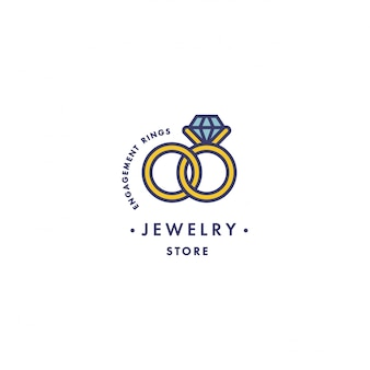Logo with engagement rings with blue gem stone design in trendy linear style in colorful colors