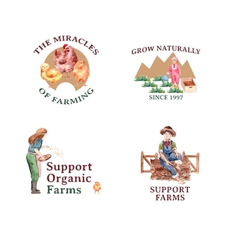Logo with farm organic concept design   watercolor    illustration.