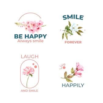 Логотип с дизайном букета цветов для концепции всемирного дня улыбки для брендинга и маркетинга акварельной векторной иллюстрации.