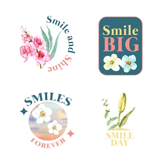 Logo con bouquet di fiori design per il concetto di giornata mondiale del sorriso per il branding e il marketing illustrativo di vettore dell'acquerello.