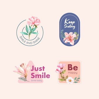 Logo with flowers bouquet design for world smile day concept to branding and marketing watercolor vector illustraion.