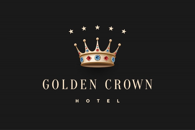 Logo with gold king crown, diamond and inscription golden crown hotel