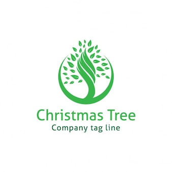 Logo with a green christmas tree