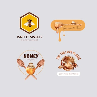 Logo with honey for branding and marketing watercolor