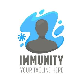 인간 면역이 있는 로고는 박테리아 공격, 건강 관리 질병 예방 의료 배너, 건강 관리 방어, 건강한 신체 개념, 안전 치료 서비스 아이콘을 반영합니다. 만화 벡터 일러스트 레이 션