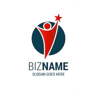 Logo with a human shape and a star