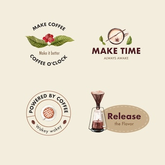 Logo with international coffee day concept design for branding and marketing watercolor