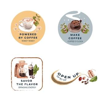 ブランディングとマーケティングの水彩画のための国際的なコーヒーの日のコンセプトデザインのロゴ