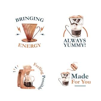 Логотип с концептуальным дизайном международного дня кофе для брендинга и маркетинговой акварели