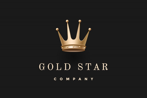 Logo with king crown and inscription gold star company